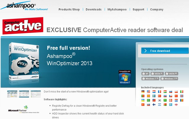 Безплатен софтуер WinOptimizer 2013